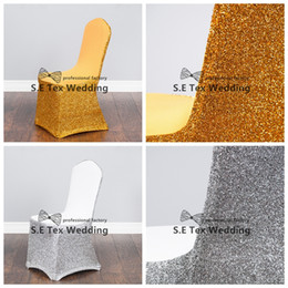 Wholesale Silver Spandex Lycra Chair Cover - Gold Or Silver Color Lycra Spandex Chair Cover With Sequin Gold \ Silver Fabric For Wedding