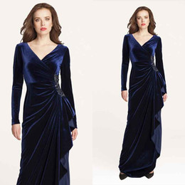 Wholesale Light Up Suits - 2016 Long Sleeves Mother Of The Bride Formal Gown V Neck Pick-Ups Sash Beaded Velvet Blue Women Evening Formal Party Gowns Custom Made