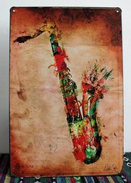 Wholesale pictures metal homes - new 2015 Vintage Tin sign Retro Metal Painting Saxophone Picture Signs Wall Pub Tavern Garage Home Decor Art Mural Tin Sheet Metal Sign Vint