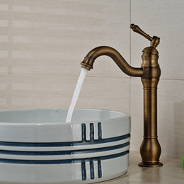 Wholesale Antique Mixers - Wholesale And Retail Classic Antique Brass Bathroom Tall Basin Faucet Single Handle Hole Vanity Sink Mixer Tap Hot and Cold
