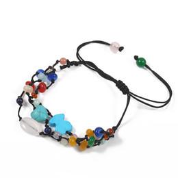 Wholesale Colorful Nature - TL Nature Stone Bear Bangle&Bracelet Hot Sale Adjustable Colorful Stone Woven Bracelet For Women Never Fade