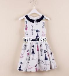 niños de graffiti Rebajas colorido vestido de la impresión de algodón sin mangas del vestido vestido de la muchacha de los niños de la correa verano de las muchachas de graffiti visten el vestido lindo algodón niño con el cinturón en stock