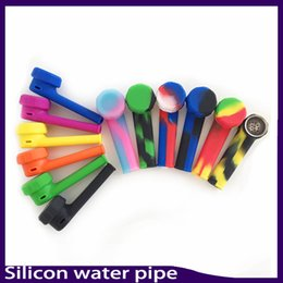 Wholesale Mini Water Hookah - Silicone Pipe Mini Water Acrylic Hookah Bong Multi Colors Portable Shisha Hand Pipes VS twisty glass blunt 0266154