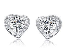 Wholesale Heart Shaped Diamond Earrings Studs - 925 Sterling Silver Stud Earrings Fashion Jewelry Heart Shaped Zircon Diamond Crystal Elegant Style Earring for Women Girls High Quality