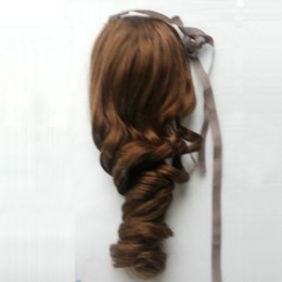 Wholesale Light Brown Wavy Hair Extensions - Free DHL Shipping 100g Clip In Long Curly Fluffy Drawstring Ponytail Virgin Human Hair Wavy Extension Fixed By Ribbon Band Hot Selling Now