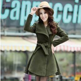Wholesale Korean Women Xs Wool Coat - Wholesale- Autumn Winter Long Wool Coat 2016 Korean Single Breasted Scarf Collar Slim A731