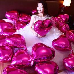 2019 decorações vermelhas em prata de mesa de natal 7 pçs / lote 18 '' polegadas hélio balões de folha balão vermelho forma de coração globos para decoração de festa de casamento decoração do Dia Dos Namorados baloes