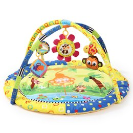 Wholesale Baby Toy Frame - Wholesale- Monkey Coconut Tree Fish Bird Soft Play mat Blanket Pad twin Fitness Frame Educational Baby Toys Climb Crawling Baby Gym