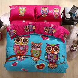 Wholesale Queens Girls Bedding - 4 3 Pieces 100% Cotton Kids Owl Boys Girls Bedding Supplies 3d Bed Linen With Duvet Cover Bed Sheet Pillowcases King Twin Queen Size