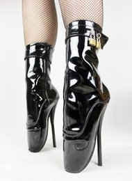 "Wholesale Sexy Hot Boots Sale - BDSM hot sale extreme high heel 7"" Spike Black shiny High Heel lockable BALLET Ankle Boots Fetish night club sexy high heel ballet boots"
