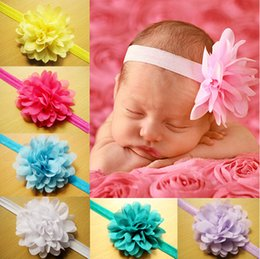 Wholesale Cheap Baby Headbands Flowers - Multicolor Chiffon flower princess hair band!girls headband,baby hair accessories,kids fashion cheap jewelry,headwear jewellery.30pcs.QF