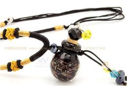 Wholesale Lampwork Perfume Bottles - Murano Glass Perfume Pendant Bottle Necklace Fashion Venetian Gold Dust Lampwork Bead Glass Jewelry For Girls