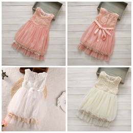 Wholesale Girls Kids Crochet Dress - 3d rose dress girls sleeveless lace Hollow crochet princess dress baby ball gowns angel dress kids dresses girls slip dresses in stock