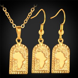 Wholesale Free Shipping Fashion Jewellery - Free Shipping African Map Pendant 18K Gold Plated Choker Necklace Earrings Fashion Jewelry Sets Jewellery Wholesale MGC S677