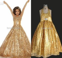 Wholesale Blue Prom Dresses For Teens - New Halter Glitz girls Pageant Dresses for teen Sequins Lace Gold kids Ball gown Beads Party prom cheap Dresses
