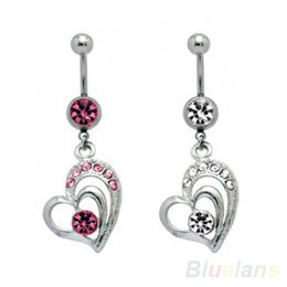 Wholesale Large Belly Button Rings - Surgical Steel Large Dangling Heart Belly Button Navel Ring 09YQ
