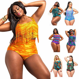 Wholesale Wholesale Plus Size High Waisted - Plus size swimwear The new fat women bathing suit European style plus-size fertilizer high-waisted bikini sexy color tassel swimsuit 2016