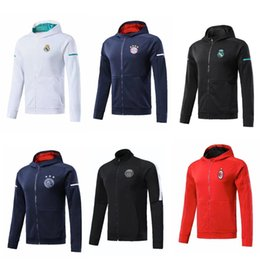 Wholesale Psg Jacket - 2017 2018 PSG NEYMAR JR soccer jerseys 17 18 Real MADRID RONALDO LEWANDOWSKI Paris MBAPPE Fooball tracksuit AC MILAN AJAX Jacket