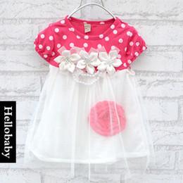 Wholesale Metallic Dresses Wholesale - 2015 Summer New baby Rose flower tutu dress girls short sleeve lace Princess tutu dress kids clothing C001