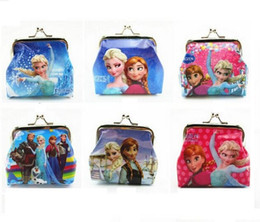 Wholesale Wholesale Shell Buttons - 12x Girls 3D Cartoon Frozen Coin Purse with iron button Anna Elsa Olaf shell bag wallet Purse