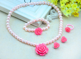 Wholesale Kids Pearl Bracelets Flower - Kids Baby Girls Child Pearl Flower Necklace Bracelet Ring Ear Clips Set Jewelry Necklace + Bracelet + Ring + Ear Clips Children Jewelry Sets