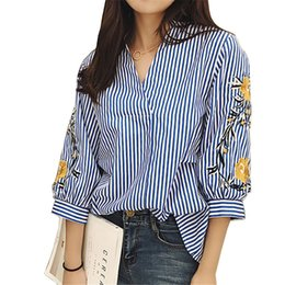 Wholesale Work Shirt Xl New - New Style Ladies Striped Blouse V-Neck Long Sleeve Floral Embroidered Casual Shirt Women White Work Blouses S-XL JCG1102