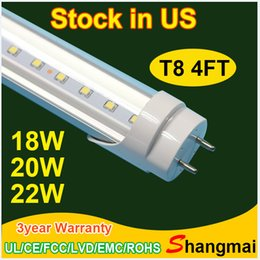 Wholesale Two Pin Led - Stock in US + t8 led 4ft led lights tubes led 22w AC 110V-265V two pin caps 4ft led tube light