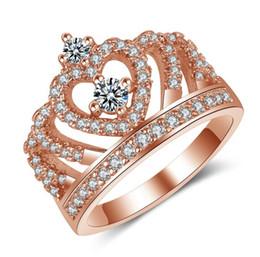 2019 обещание кольца розовое золото Потрясающие обручальное кольцо классический дизайн Корона платиновое покрытие или розовое золото покрытием имитация Алмаз обещание кольца для женщин скидка обещание кольца розовое золото