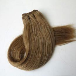Brezilyalı İnsan saç atkı Düz Saç örgü 100g 20 inç 12 # Işık Altın Kahverengi hint saç uzantıları supplier human hair wefts brown nereden insan saçı atkı kahverengi tedarikçiler