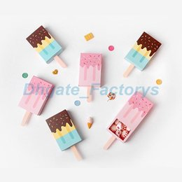 Wholesale Recycled Corrugated - Ice Cream Shape Cute Gift Boxes Baby Shower Birthday Party Candy Box Cartoon Drawer Gift Box For Kids Party Favor Box JF-706