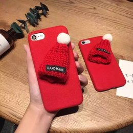 Wholesale Black Hard Hats - Fur Hat Christmas Case For iPhone 6 6S 7 Plus Cute Warm Girl Hard Protective Phone Case For iPhone 6 6S 7 Plus Special Cover