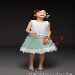 Pettigirl 2016 nuevas llegadas de la muchacha del cordón viste el verano del algodón de la flor verde sin mangas Tulle Kids Dress ropa de los niños al por mayor GD50325-9 desde fabricantes
