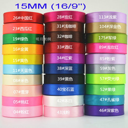 """Wholesale Satin Ribbon Gift Decoration - solid color 5 8""""(15mm) satin ribbons belt gift packing wedding decoration 25yards  roll mixed colors available 250YARDS LOT"""