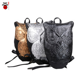 Wholesale Backpack Cooler Pocket - Women Backpack 2015 Newest Stylish Cool Black PU Leather Owl Backpack Female Hot Sale Women Bag In Stock Fast Shipping 00972