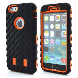 Wholesale Case Silicone Tire - Tire Robot Hybrid Heavy Duty Rugged Shockproof Hard plastic Soft Silicone Case Skin Cover for iphone 6 4.7inch robot case