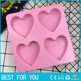Wholesale Silicone Soap Molds Christmas - 4 Even Love Shape Silicone Cake Molds, Chocolate Mold, Budding Mold, DIY Soap Mold, Bakeware Tool
