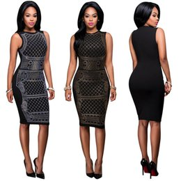 Canada Femmes noires col rond sans manches taille élastique géométrique motif géométrique pavé de diamants club mince moulante robes de crayon midi Offre