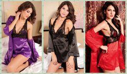 Wholesale Satin Silk Robe - Women Sexy Lingerie Silk Satin Lace Robe Set Sleepwear Nightdress Dressing Gowns Pajamas Set Kimono Nightgown Bathrobe Purple Black Red 2637