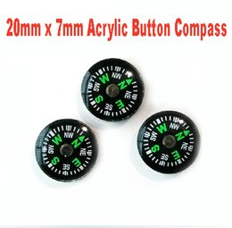 Wholesale Wholesale Mini Compasses - Outdoor Gear 200mm x 7mm, 3 Gram Mini Acrylic Button Camping Compass Outdoor Survival Kit Free Shipping