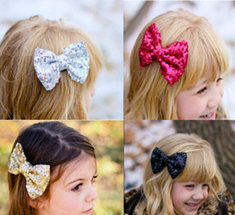 Wholesale Cheap Hairbows - 10%off 2015 cheap hotsale 4inch Sequined Gold Hair Bow Baby Hairbows Girl Hair Bows With Clip Kids Hair Accessories Choose color 20pcs lot