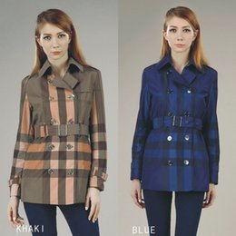 Wholesale England Women Coat - Hot Sales! women fashion british middle long trench coat high quality brand designer england trench for women size S-XXL 2 colors