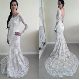 Wholesale Gorgeous Trumpet Mermaid Bridal Gowns - Gorgeous 2018 Latest Lace Long Sleeve Mermaid Wedding Dresses Sexy Backless Bridal Gowns Plus Size Wedding Gowns