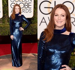 Wholesale Cheap Award Dresses - 2016 73rd Golden Globe Awards Julianne Moore Celebrity Dresses Long Sleeves Sequins Evening Dress Sheath Royal Blue Party Prom Gowns Cheap