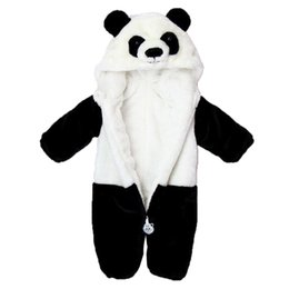 Wholesale Panda Halloween Costume - 2017 Infant Romper Baby Boys Girls Jumpsuit New born Kids Clothing Hooded Toddler Baby Clothes Cute Panda Romper Photo Costumes