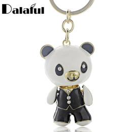 Wholesale panda key chain - beijia Cute Enamel Panda Crystal Lovely Bag Pendant Key chains Holder Keyrings Keychains For Car Fashion Jewelry K185