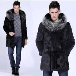 Wholesale Winter Sexy Cloth - Fall-Handsome Men Fur Coat Long Cloth Winter Warm Casual Hooded Sexy Cool Faux Rabbit Fur Overcoat Brief Fur Collar Outerwear YY1021