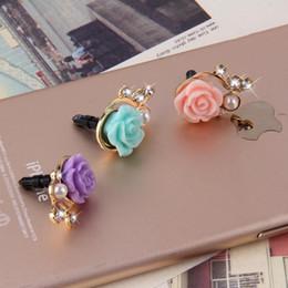 Wholesale Rose Anti Dust Plug - Wholesale-Romantic Rose Flower 3D Crystal Bead Pearl Anti Dust Plug Mobile Phone Dust Plug Sweet Girls Phone Pendants New Design