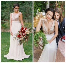 Wholesale Chiffon Pink Rose Gown - 2016 Hot Sale Rose Gold Sequinned Wedding Dress by Truvelle Floor Length Chiffon Pleats Sexy Back Wedding Gowns Custom