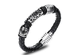 Casual Male Jewelry Schwarz Geflochtenes Lederarmband Männer Edelstahl Armbänder Armreifen Kuh Leder Handgefertigt FL952 von Fabrikanten