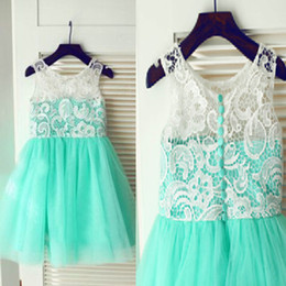 Wholesale Girls Turquoise Pageant Dress - 2015 Turquoise Mint Flower Girls Dresses for Weddings Real Image A Line Sheer Lace Crew Neck Custom Made Girls Pageant Gowns Short